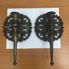 Vtg Pair Gothic Ornate Wall Candle Sconces Holders 70s Fleur de lis Black Gold