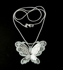 Mujer 925 Plata Plateado Filigrana Mariposa Colgante Collar Joyería