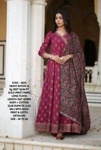 Indian Designer Anarkali Kurti Kurta Dupatta Women Dress Ethnic Gown Top Tunic S
