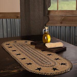 "VHC Brands Primitive 36""x13"" Stars Border Table Runner Tan Kitchen Table Decor"
