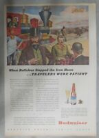 Budweiser Beer Ad: Iron Horse Travelers Were Patient ! from 1940's