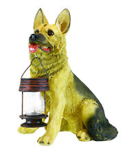 German Shepherd with Solar Lantern;Great decor and Light for Home and Garden