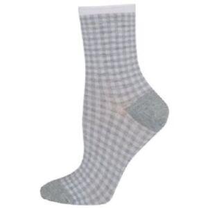 HUE topia Organic Lt. Heather Gray/White Gingham Shortie Socks - MSRP $6.50