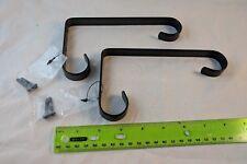 """Black Metal Decorative Curl Shelf Brackets Holders 6.5""""D x 4""""T x .5""""W Set of 2"""