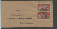 LITHUANIA  292 PAIR ON COVER  RARE PAPILYS BIRZU CANCEL