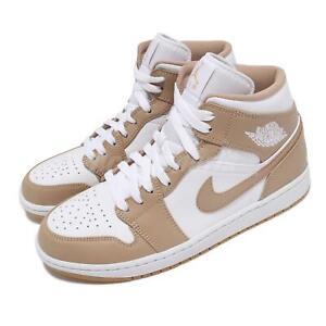 Nike Air Jordan 1 Mid Tan Gum White Men Casual Lifestyle Shoes AJ1 554724-271