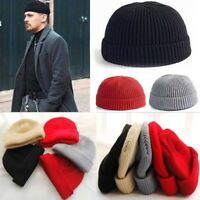 Unisex Men Women Beanie Hat Warm Ribbed Winter Turn Ski Fisherman Docker Cap-WI