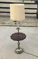 Vintage Mid Century Brass Stiffel Floor Lamp w Wood Center Table & ORIG SHADE