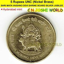 SHRI MATA VAISHNO DEVI SHRINE BOARD SILVER JUBILEE Nickel-Brass Rs 5 UNC #1 Coin
