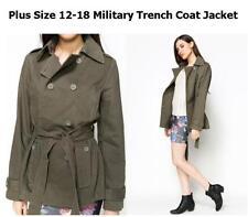 Button Cotton Camouflage Plus Size Coats & Jackets for Women