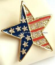 Gold American Flag Pin Brooch Crystal Enamel Stars Plated July 4th USA Seller