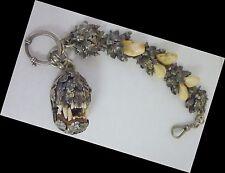 1880s German Charivari Hunting Talisman 835 Silver Watch Fob Hinged Jaw Teeth