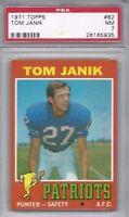 1971 Topps vintage football Card #82 Tom Janik New England Patriots graded PSA 7