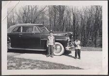 Vintage Car Photo Cute Boys w/ 1950 Plymouth Convertible Automobile 773597