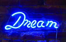 "Isaac Jacobs 17"" by 6"" inch Led Neon Blue ""Dream� Wall Sign for Cool Light, Wall"