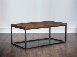 Solid Wood & Metal Coffee Table, Industrial, Rustic, Square Tube, Calia Inspired