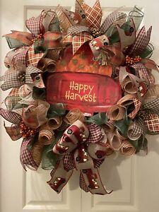 """Everyday Handmade Deco Mesh Happy Harvest Wreath 24"""""""