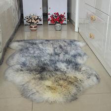 Farm real Genuine Single One Pelt Sheepskin soft Wool fur Rug Hide Mats grey tip
