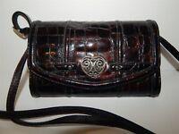 Brighton Brown Croc Patent Leather Organizer Clutch Crossbody Bag