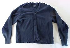 Genuine Blue Mens L Large Wool V-neck Pullover Military Sweater Elbow Patches