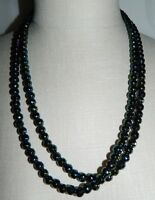 VTG Art Deco Flapper Style Black Aurora Borealis Glass Faceted Beaded Necklace