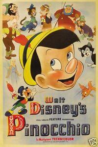 Pinocchio Walt Disney vintage cartoon movie poster print #A37