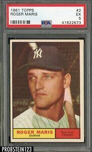 1961 Topps #2 Roger Maris New York Yankees PSA 5 EX