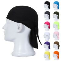 Men Caps Fitted Solid Tied Back Bandana Doo Rag Do Du Motorcycle Skull Outdoor