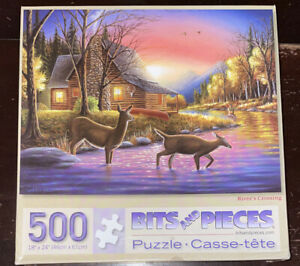 Bits and Pieces River's Crossing Chuck Black Art 500 Piece Jigsaw Puzzle Deer