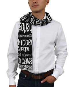 Roberto Cavalli ESZ2064 D0027 White/ Black Wool Blend Mens Scarf
