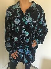 WOMAN WITHIN Navy Floral Long Sleeve Button Down Shirt Sz 3X Plus Size