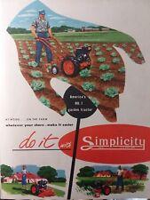 Simplicity 1952 Walk Behind M 1 L 1 Garden Tractor Color Brochure Sales Catalog