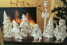 Christmas Porcelain Snowman Choir 7 Pc  Hand Painted Members in Box Figurines