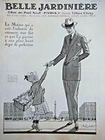PUBLICITÉ DE PRESSE 1923 VÊTEMENTS BELLE JARDINIÈRE - ENFANT MUGUET DU 1er MAI