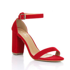 Womens Block Heel Ankle Strap Sandals Ladies PEEP Toe Strappy Party Shoes 3 8 UK 5 Red