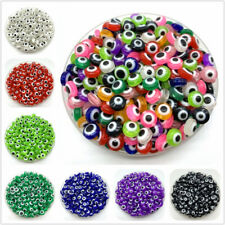 100pcs Oval Shape Spacer Beads Evil Eye Beads Stripe Resin For Jewelry Making