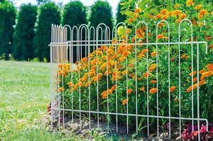 Gartenzaun Rabattenzaun Steckzaun Metallzaun 99x70 cm Weiß Grau Dekoration TOP