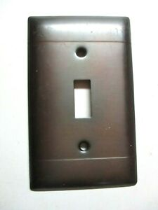Bryant 1950 Steampunk 2 Horizontal Lines Blued Steel Switch Plate Wall Cover Vtg