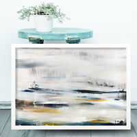 Abstract Painting Art Print White Blue Yellow Wall Landscape Poster