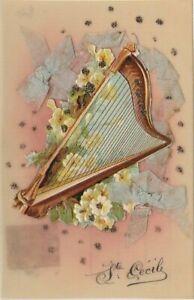 Carte postale ancienne - CPA- Fantaisie - celluloid :Musique - Harpe - Découpis