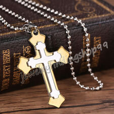 Gift Unisex's Men Gold Black Silver Stainless Steel Cross Pendant Necklace Chain