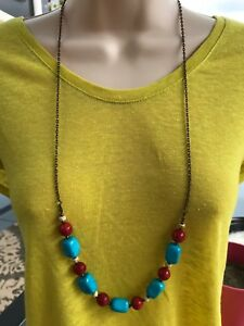 Necklace of Turquoise Magnesite Stone Nuggets and Coral on a Long Bronze Chain