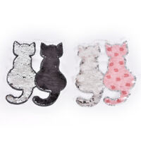 Cat reversible change color sequins sew on patches for clothes DIY patches