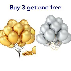 Birthday Ballons Party Metallic Gold Silver Colour Wedding Celebration 12 pack