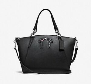 NWT Coach F28969 Small Kelsey Midnight with Bow Pebble Leather Satchel Handbag