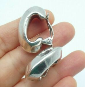 Vintage Big Chunky Clip On Earrings Sterling Silver 925 Hoops Angled Modernist