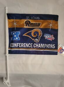 ST LOUIS RAMS CAR/TRUCK FLAGS 2001 CONFERENCE CHAMPION SUPER BOWL XXXVI (NWT)
