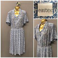 Eastex Blue Mix Pleated Dress UK 14 EUR 40 USA 12