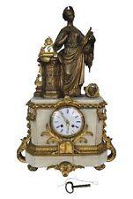 pendule marbre blanc Napoléon III femme lauriers