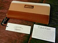 Calvin Klein Brown Striped Leather Flap Clutch Wallet  MSRP $118 NWT